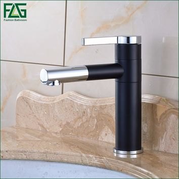 Free Shipping Basin Faucet 720 Degree Swivel Black Painting Chrome,Cold Hot Deck Mounted Vanity Sink Bathroom Tap Mixer 101-11