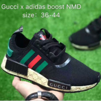 GUCCI & Adidas NMD Fashion Women Men Personality Running Sport Sneakers Shoes Black Green Tail I
