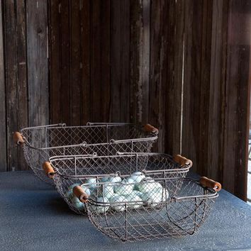 Rectangle Wire Baskets, Set of 3