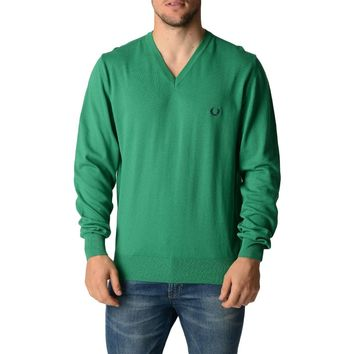 Fred Perry Mens Sweater Green V-Neck
