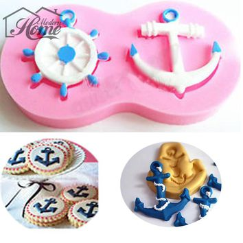 Anchor Rudder Wheel Ship Shape Silicone Mold Cake Decorating Tools Fondant Sailor Nautical Forms Cookie Baking Chocolate Mold