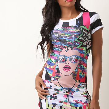 Drunk In Love Pop Art Round Hem Dress