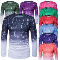 Fashion personality gradient 3D print round neck long sleeve [10352114435]
