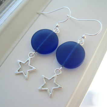 Cobalt Blue Earrings - Star Jewelry - Star Earrings - Fourth of July Earrings - Blue Jewelry - Sea Glass Jewelry - Sea Glass Earring - Charm