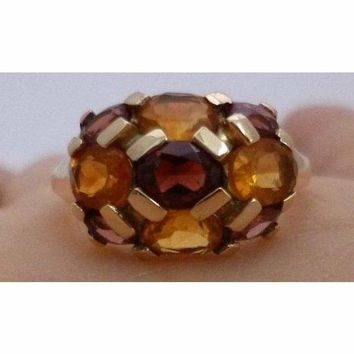 Luxinelle Citrine and Garnet Yellow Gold Ring - Multicolor Orange and Brown by Luxinelle®Jewelry