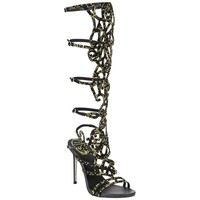 New Rene Caovilla Knee-High Swarovski Beaded Gladiator Sandals It 36 - US 6