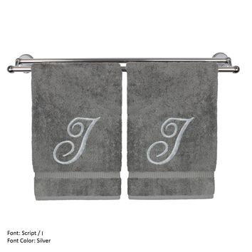 Monogrammed Hand Towel, Personalized Gift, 16 x 30 Inches - Set of 2 - Silver Embroidered Towel - Extra Absorbent 100% Turkish Cotton- Soft Terry Finish - For Bathroom, Kitchen and Spa- Script I Gray