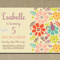 Garden Birthday Invitation Pastel Bright Flowers Whimsical Birthday Party 1st 2nd 3rd 4th 5th Printable or Printed - Isabelle Style