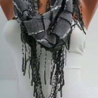 Dark Gray Shawl/ Scarf  Headband - Cowl with Trim Edge- Summer Trends