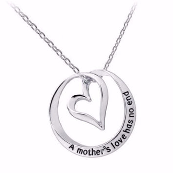 """A Mother's Love Has No End"" Inspirational Stamped Heart Necklace"