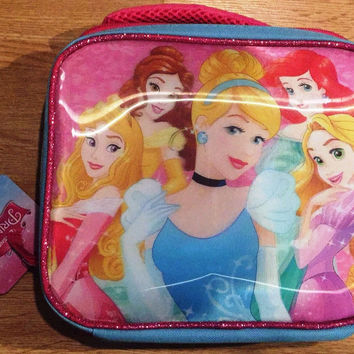 Disney Princesses Pink & Blue Lenticular Lunch Box NWT