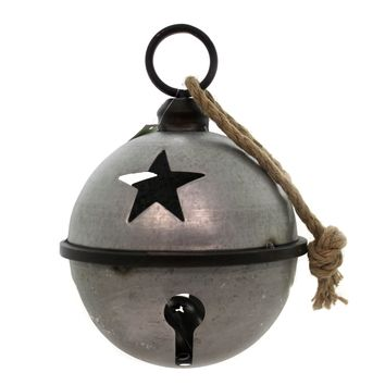 Christmas JINGLE BELL WITH ROPE SILVER LG Metal Galvanized Star Cha422