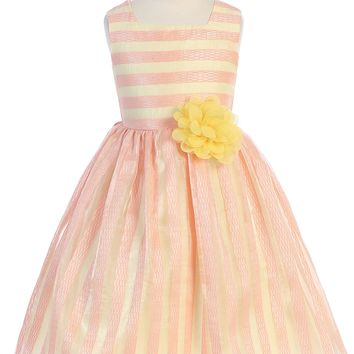 Coral & Yellow Striped Girls Easter Dress w. Contrast Lining 2-12