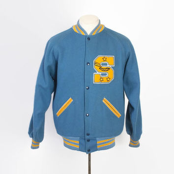 Vintage 70s LETTERMAN JACKET / 1970s Men's Sky Blue Wool Swimming VARSITY Jacket M