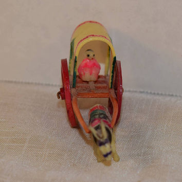 Miniature Donkey & Cart Toy Vintage Plastic Mini Burro Covered Wagon Moveable Wheels Pink Yellow Green Colored Wagon Donkey Toy