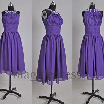 Custom Purple Beaded Short Prom Dresses Bridesmaid Dresses 2014 Party Dresses Evening Dresses Wedding Party Dress Homecoming Dresses