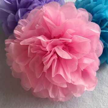 "Handmade 6'' 10"" Tissue Paper Flower Ball Pompom For Home Garden Romantic Wedding Birthday&Wedding Car DTY Decoration 20Colors"