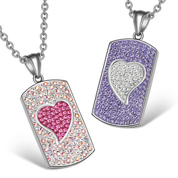 Magic Hearts Austrian Crystal Love Couples or Best Friends Dog Tag Pink Rainbow White Purple Necklaces
