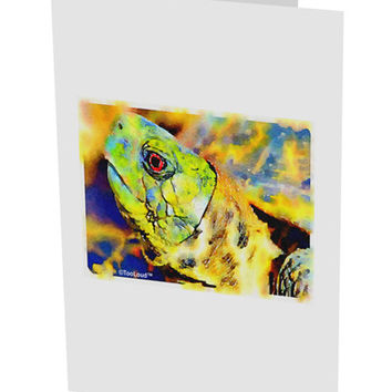 "Menacing Turtle Watercolor 10 Pack of 5x7"" Side Fold Blank Greeting Cards"