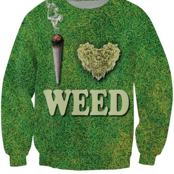 New Arrive  I Heart Weed Crewneck Sweatshirt drug jumper fashion clothing Women Men  Tops Hoodies Sweats