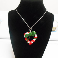 Christmas Candy Cane Heart with green bow Necklace