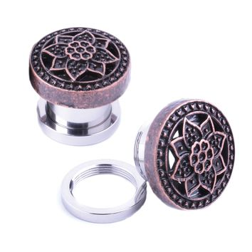 BodyJ4You Plugs Ear Gauges Rose Gold Tribal Flower Lotus Screw Fit 00G 10mm Piercing Jewelry