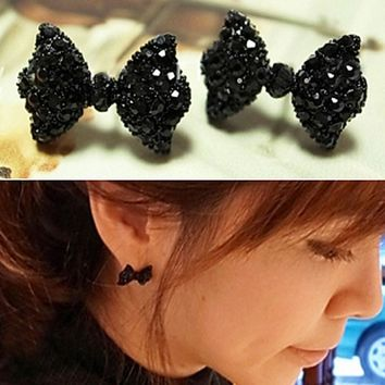 Women Black Cute Bow Tie Stud Earrings