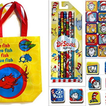 Dr. Seuss One Fish Two Fish Red Fish Blue Fish Tote Bundle Supply or Party Set with 6 Different #2 Lead Pencils with Erasers on Top, 8 Hand Held Erasers, 1 Sticker Sheet and Matching Tote Bag