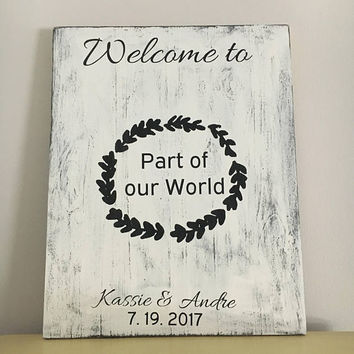 Disney Welcome wedding sign, little mermaid, bridal shower gift, groom to bride gift, reception decor, wedding photo prop, wedding accessory