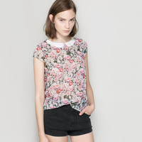 FLORAL TOP WITH CONTRASTING COLLAR - Shirts - TRF | ZARA United States