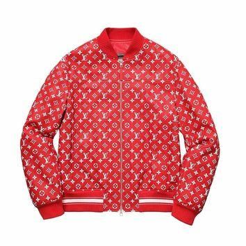Supreme x Louis Vuitton Leather Blouson Jacket - Red