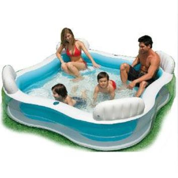 High Quality PVC  Family Swimming Pool with 4 Back Seat and Cushion Inflatable Pool Luxury Bath Pool  229*229*66cm