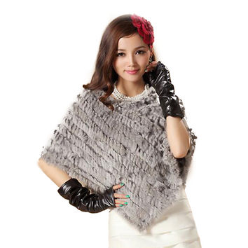 Hot-selling triangle rabbit fur knitted shawl cloak outerwear fur cape rhombus pullover