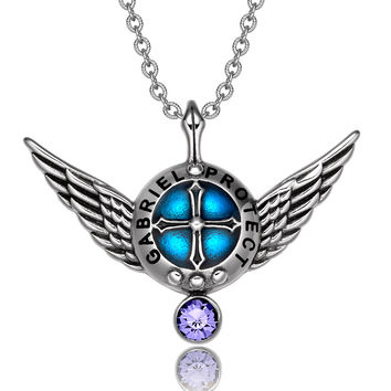 Archangel Gabriel Angel Wings Protection Shield Magic Power Charm Purple Crystal Pendant 22 inch Necklace