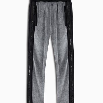 velour snap track pant / grey + black