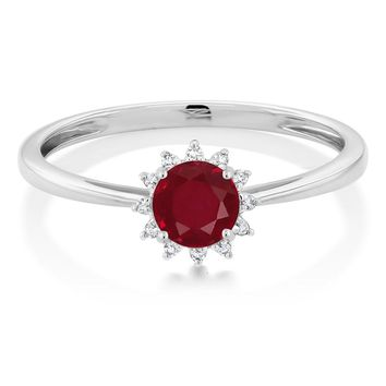 0.55 Ctw 10K White Gold Red Ruby and Diamond Engagement Ring