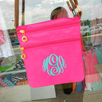 Monogram Fuchsia Pink Cross-body  3 Compartments  Font shown  MASTER CIRCLE in light pool