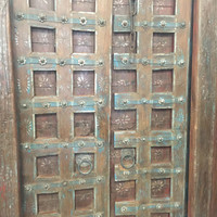 Architecture Door Brass Floral Patina Reclaimed Teak Doors