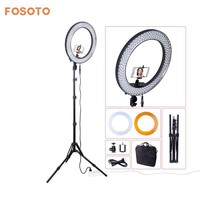 "fosoto Newest RL188 DSLR Camera Photo Studio Phone Video 18""55W 240 LED 5500K Photography Dimmable Ring Light Lamp&Tripod Stand"