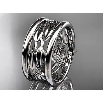 Platinum leaf and vine wedding ring, engagement ring, wedding band ADLR293