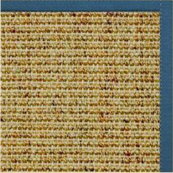 Spice Sisal Rug with Paradise Blue Cotton Border