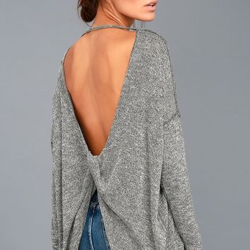 Hazey Baby Heather Grey Backless Sweater Top