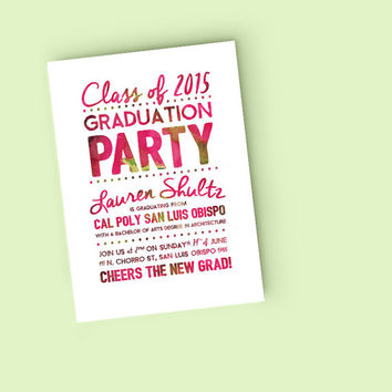 Printable Graduation Announcement Invitation - Watercolor Grad Party invite - DIY Ready to print invitation