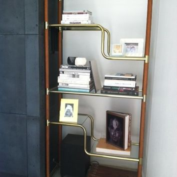 wood and brass etagere