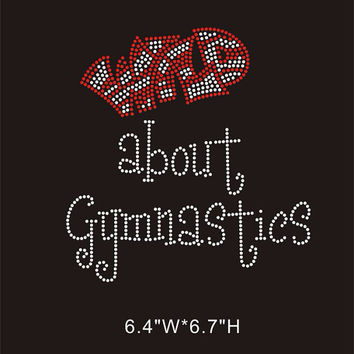 Wild about gymnastics rhinestone transfer - iron on rhinestone appliqué gymnastic transfer