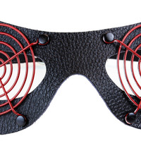 Black Rivet Leather Cat Eye Mask w/ Red Metal Cover Cosplay Comic Con