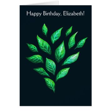 Elegant Green Leaves Nature Lover Name Birthday Card