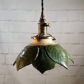 Handcrafted Pottery Hanging Leaf Pendant Light