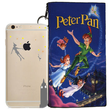 Disney's Peter Pan Jelly Clear Case For Apple Iphone 6/6s PLUS + Pouch