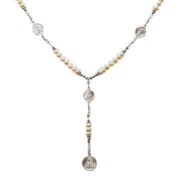 Sterling Silver 7 Sorrows Rosary 6mm Pearl Necklace with 7 Sorrows Medal Set
